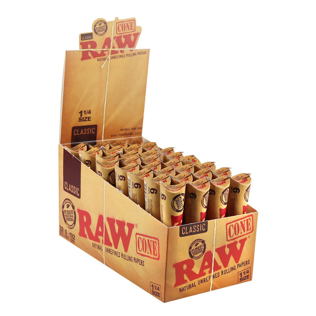 Raw Natural Unrefined Pre-Rolled Cones Full Box - 1 1/4 Inch