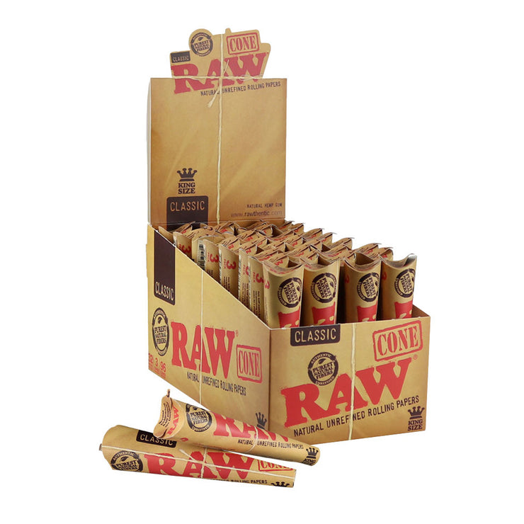 Raw Natural Unrefined Pre-Rolled Cones Full Box | Kingsize