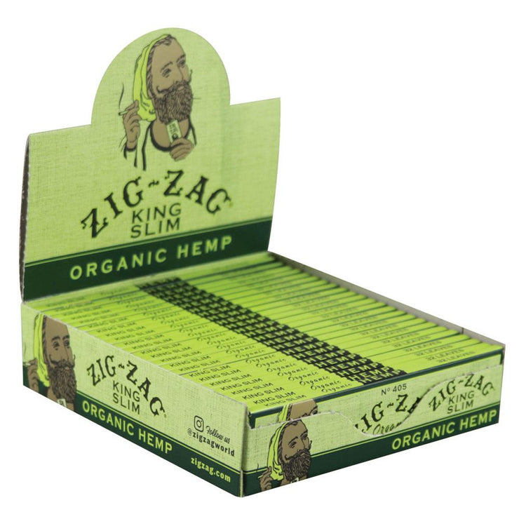 Zig Zag Organic Hemp Rolling Papers | Kingsize Slim Full Box