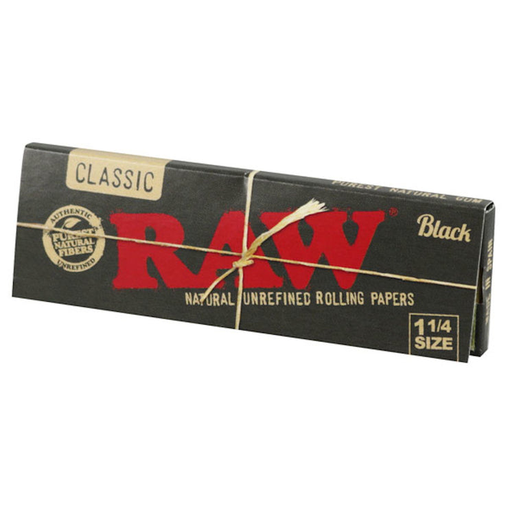 Raw Black Classic Rolling Papers - 1 1/4 Inch
