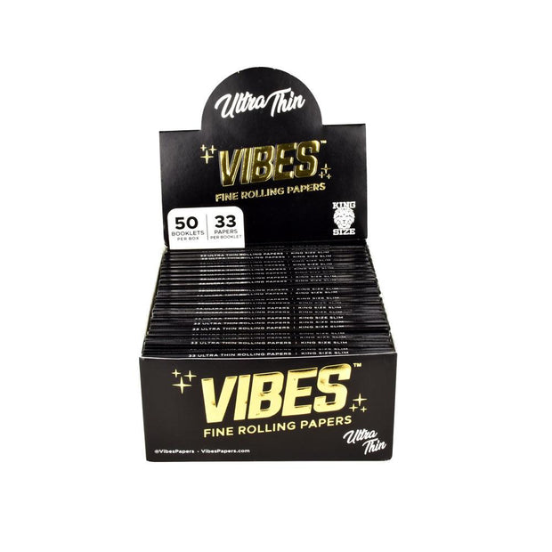 VIBES Ultra Thin Rolling Papers | Kingsize Slim Full Box