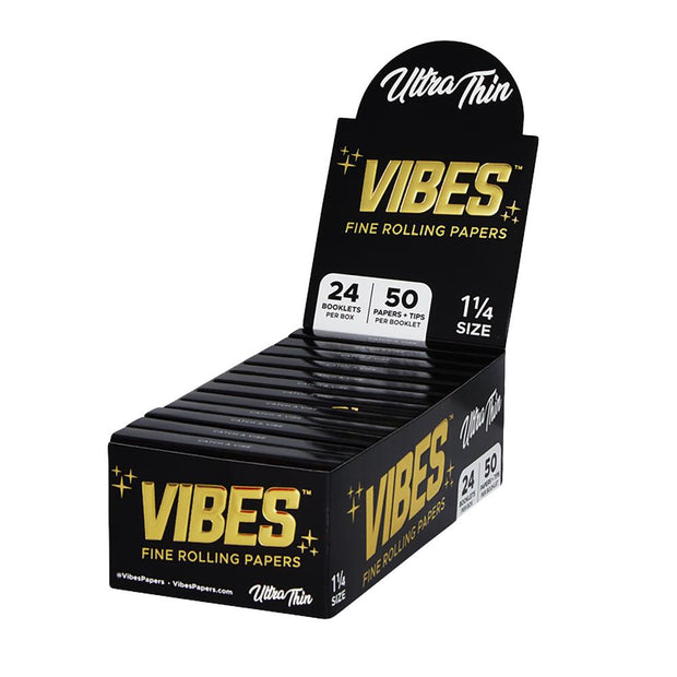 VIBES Ultra Thin Rolling Papers w/ Filters | 1 1/4 Inch Full Box