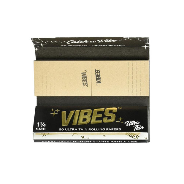 VIBES Ultra Thin Rolling Papers w/ Filters | 1 1/4 Inch