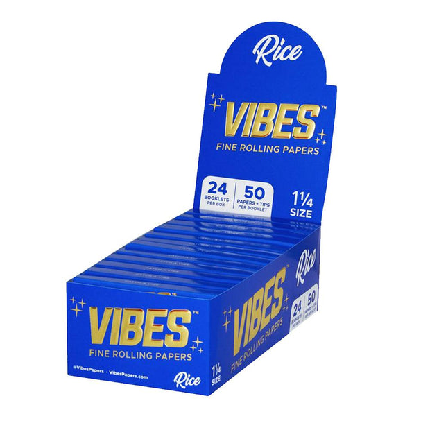 VIBES Rice Rolling Papers w/ Tips | 1 1/4 Inch Full Box