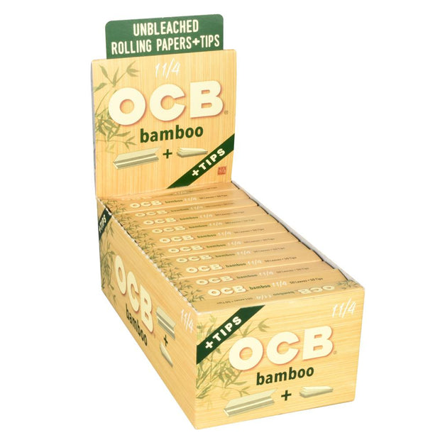 OCB Bamboo Rolling Papers Full Box - 1 1/4 Inch + Tips