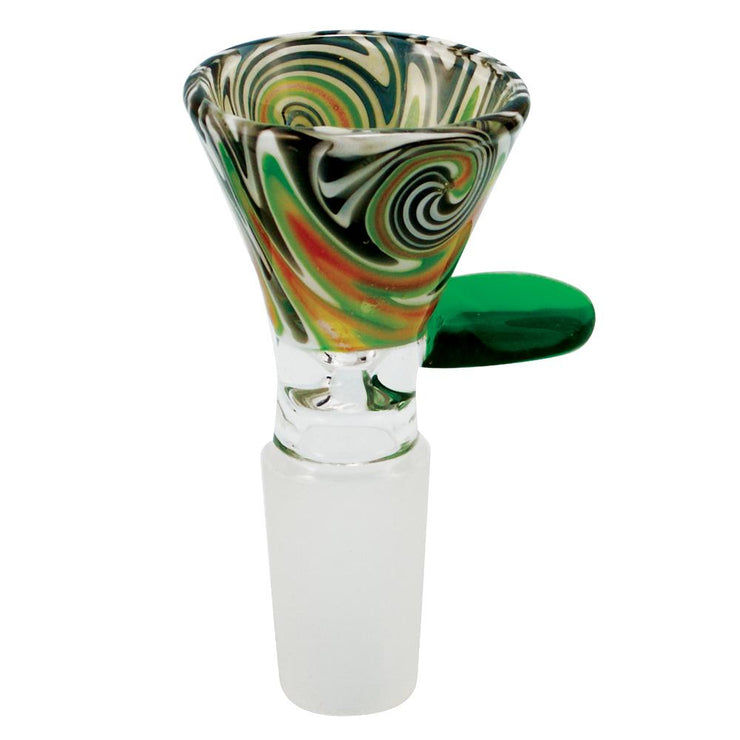 Worked Glass Bong Bowl - Green Red