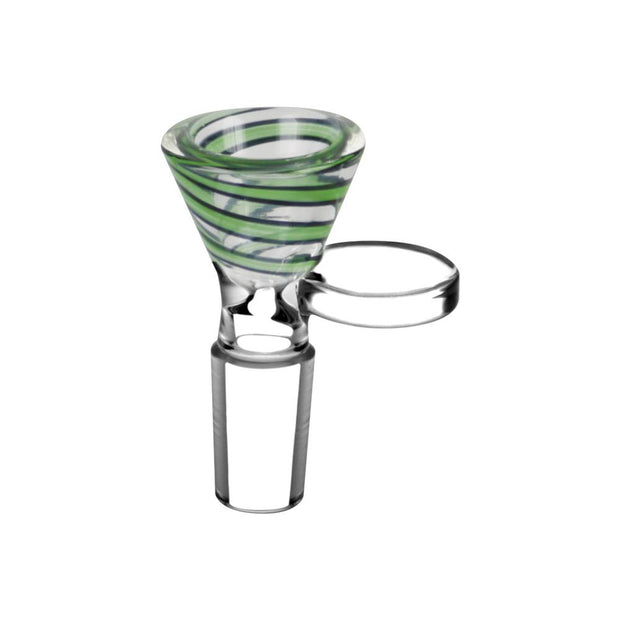 Green Color Swirl Glass Bong Bowl - 14mm Male