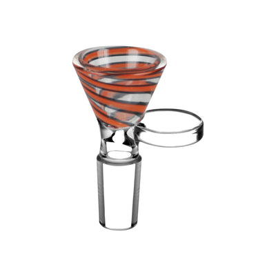 Red Color Swirl Glass Bong Bowl - 14mm Male