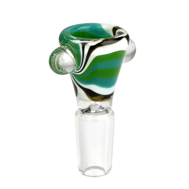 Worked Swirl Herb Slide | 14mm Green