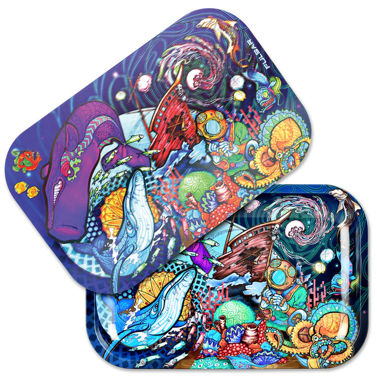 Pulsar Metal Rolling Tray w/ 3D Lid | Amberly Downs Psychedelic Ocean