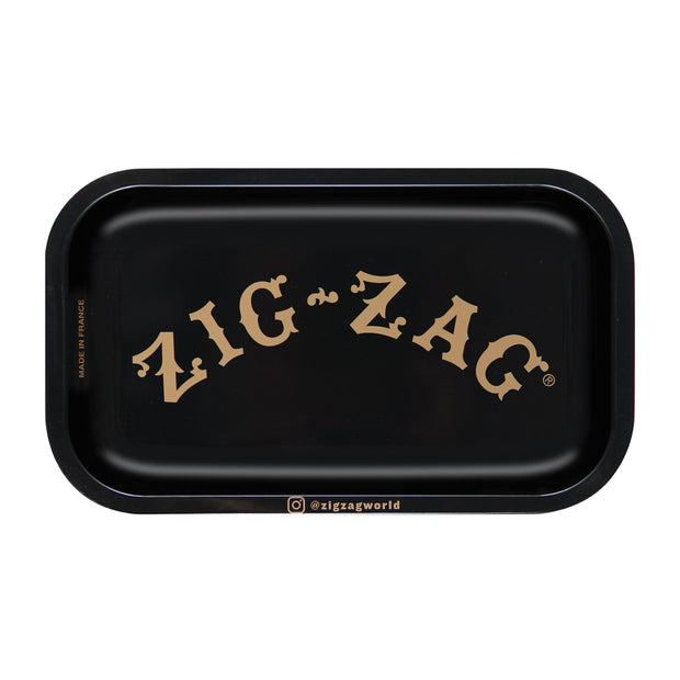 Zig Zag Small Metal Rolling Tray | Black