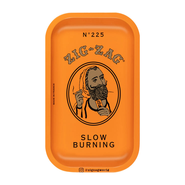 Zig Zag Small Metal Rolling Tray | Orange