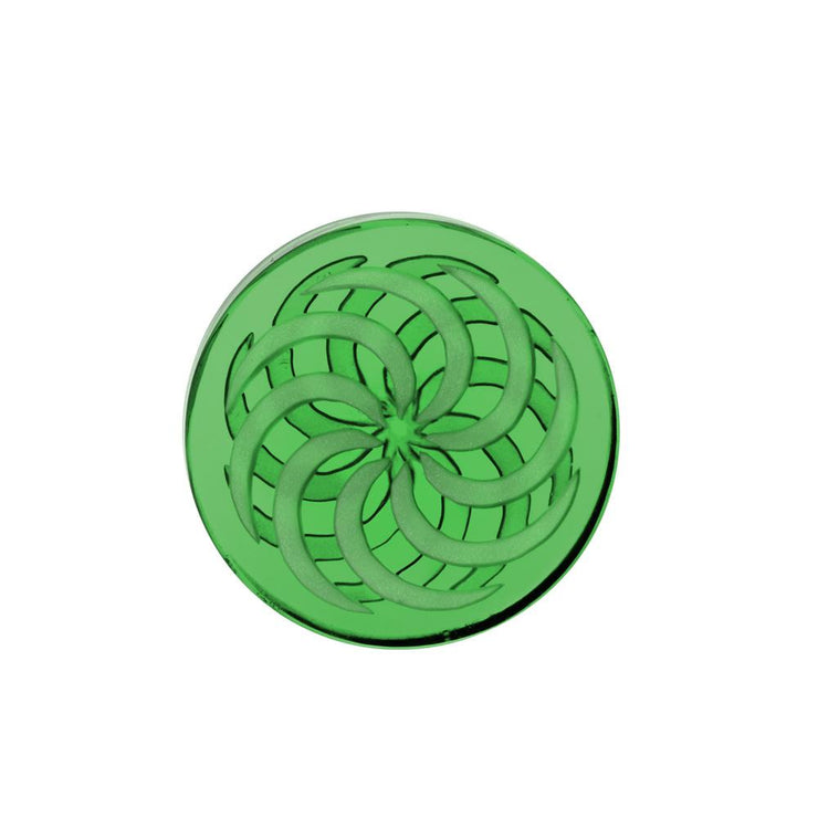 Glass Coin Spinner Channel Carb Cap | Green