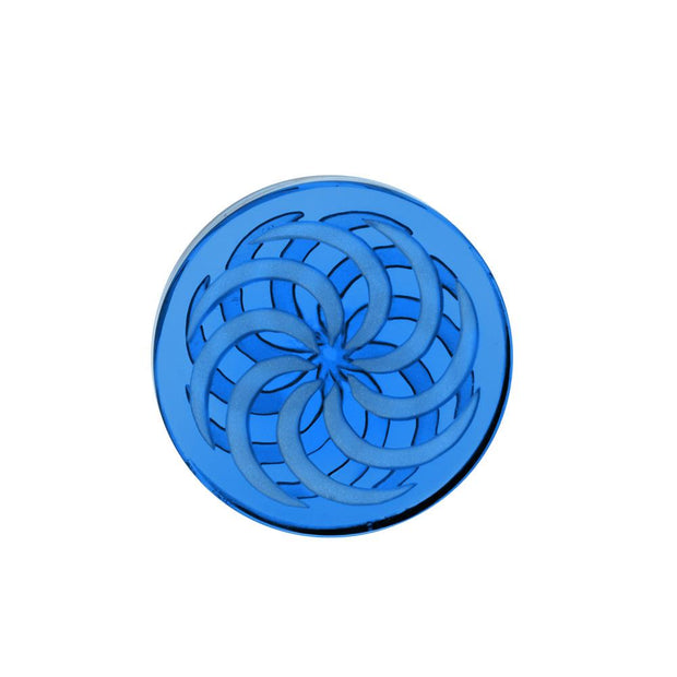 Glass Coin Spinner Channel Carb Cap | Light Blue