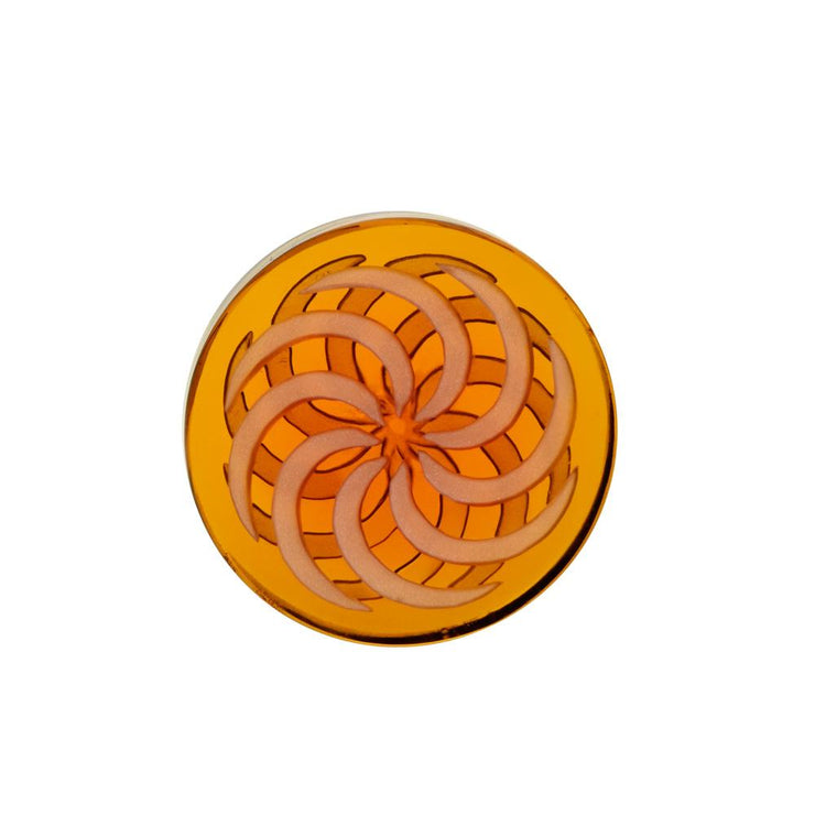Glass Coin Spinner Channel Carb Cap | Amber