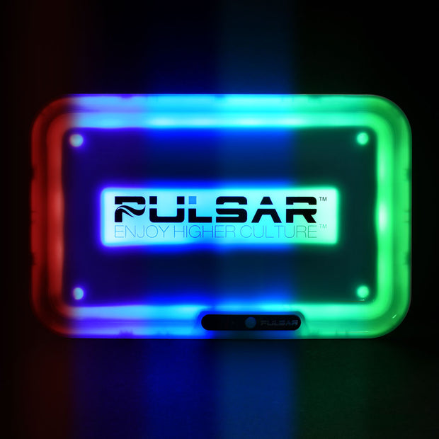 Pulsar Logo Glow LED Rolling Tray | Glowing