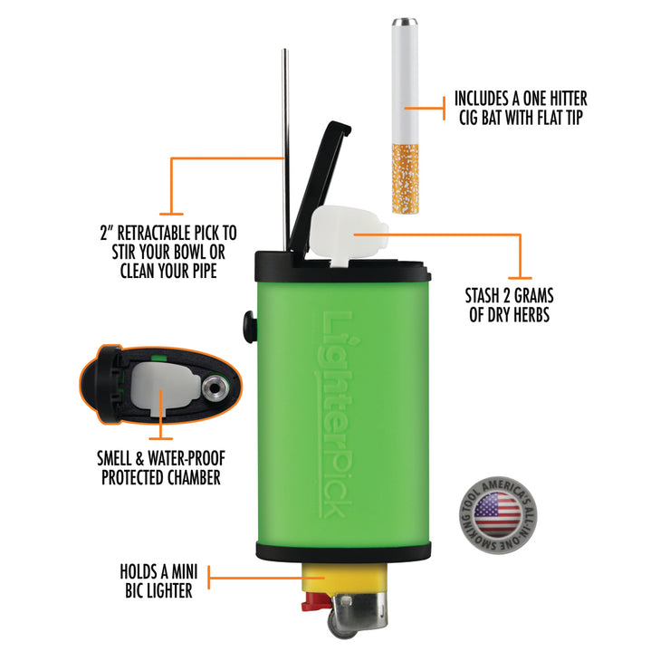 LighterPick All-In-One Waterproof Smoking Dugout Diagram