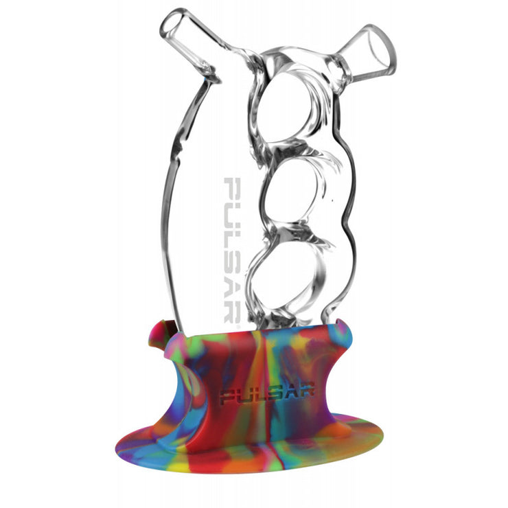Pulsar Glass Knuckle Bubbler w/ Tie Dye Silicone Stand
