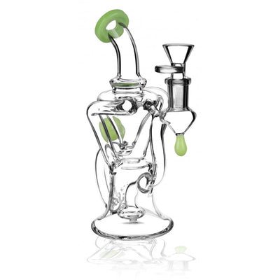 Pulsar Bent Neck Recycler Bong | 8 Inch | Light Green