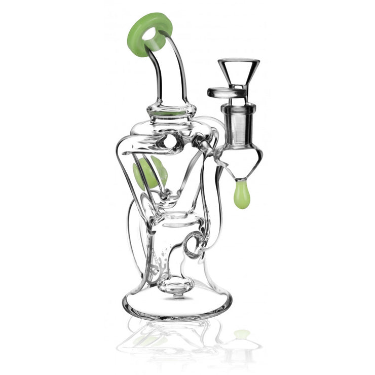 "Pulsar Bent Neck Recycler - 8"" / 14mm F / Light Green"