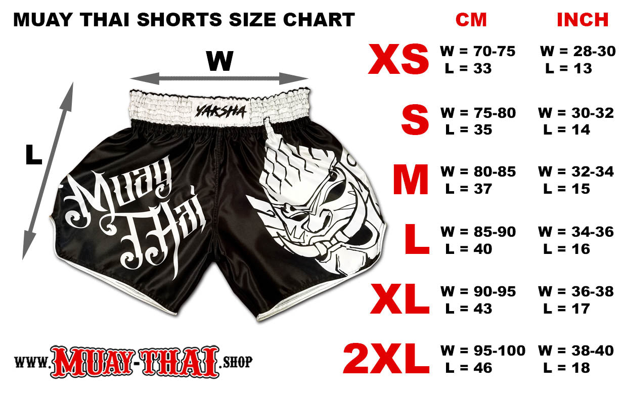 Muay Thai Shorts Size Chart / Size Guide