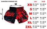 size chart / measurements in cm and inch for muay thai boxing shorts