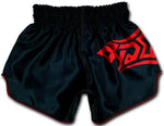 black muay thai boxing shorts with red tribal
