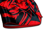 detail picture of red samurai on black muay thai shorts