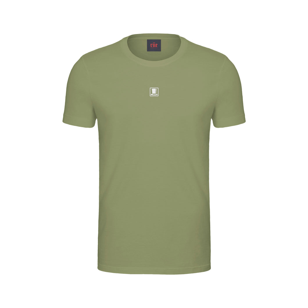 Top Hat T-Shirt Olive/White