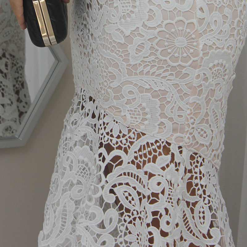 NEVER GO LACE MIDI DRESS IN WHITE - Two Sisters Instyle
