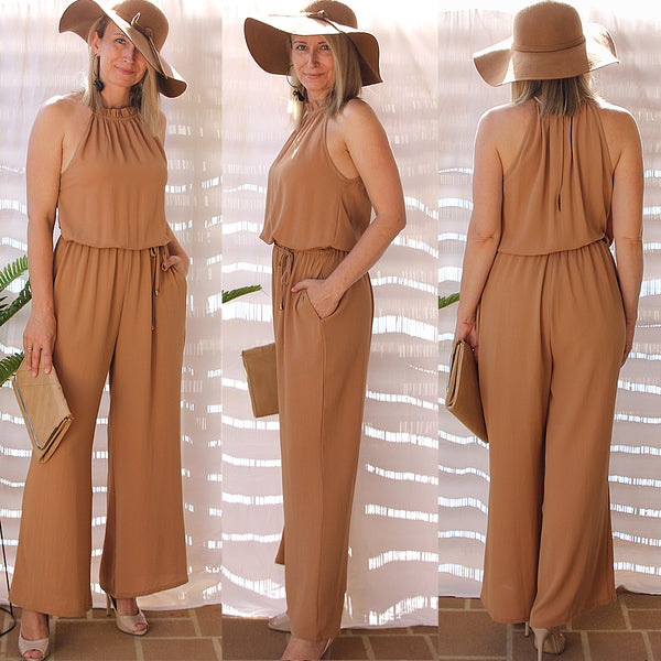 YOU WERE THERE JUMPSUIT IN MOCHA - Two Sisters Instyle