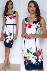 EMILIA FLORAL MIDI DRESS IN WHITE - Two Sisters Instyle