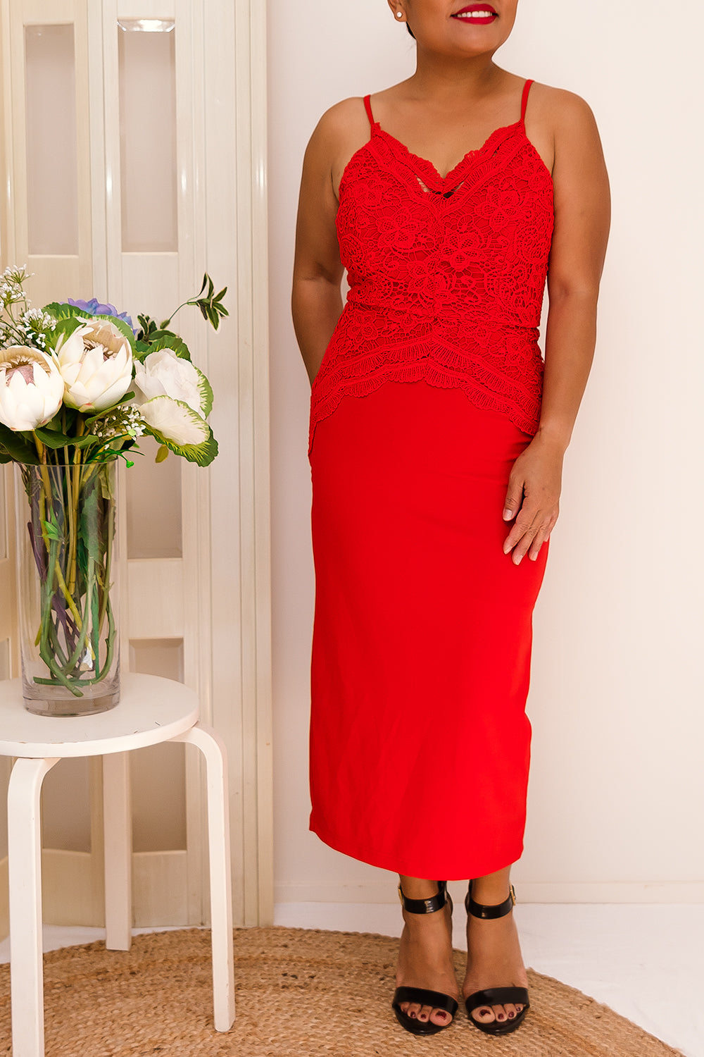 ROSABEL MIDI DRESS-RED- Two Sisters Instyle