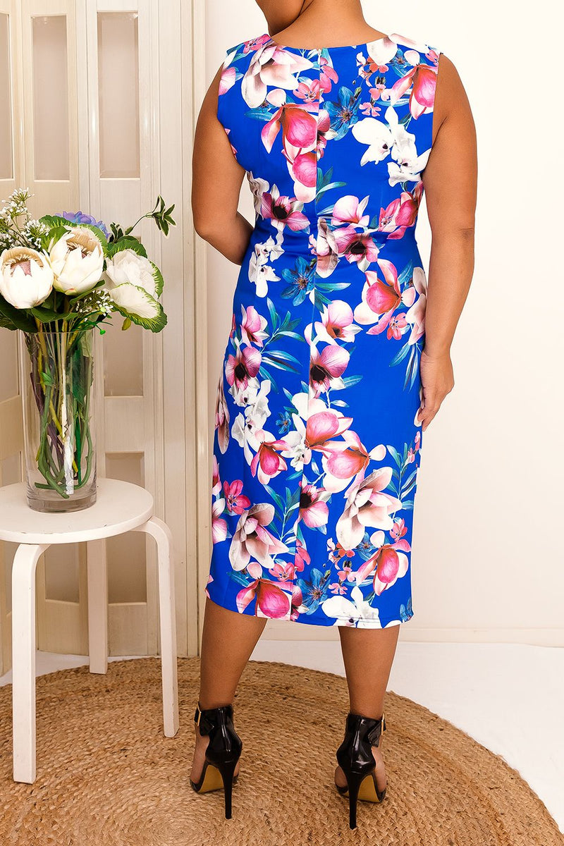 LILY ROSE FLORAL DRESS-BLUE - Two Sisters Instyle