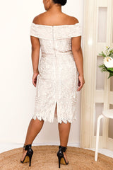 AVA LACE DRESS IN BEIGE - Two Sisters Instyle