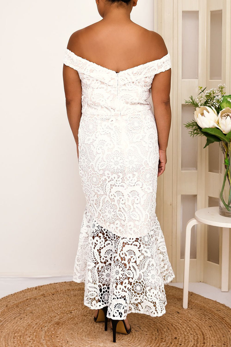 BELLA MAY LACE MIDI DRESS-WHITE - Two Sisters Instyle