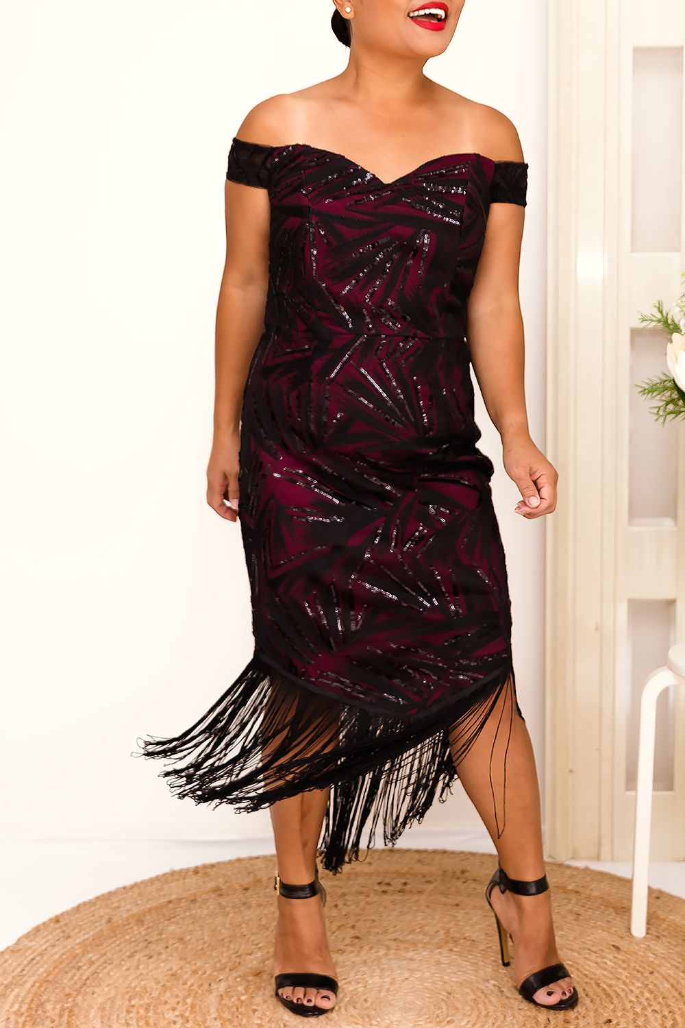 LUCIA SEQUIN TASSEL HEM DRESS IN BURGUNDY - Two Sisters Instyle