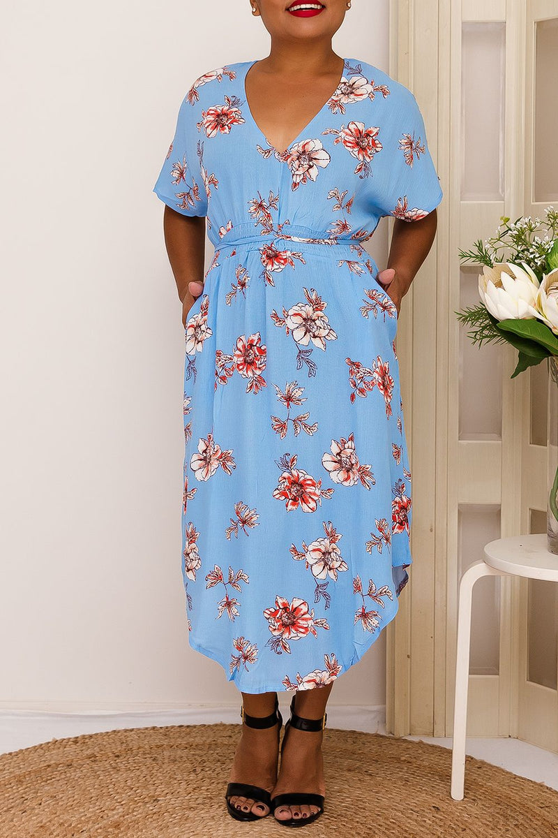 MIKA FLORAL DRESS-  BABY BLUE - Two Sisters Instyle