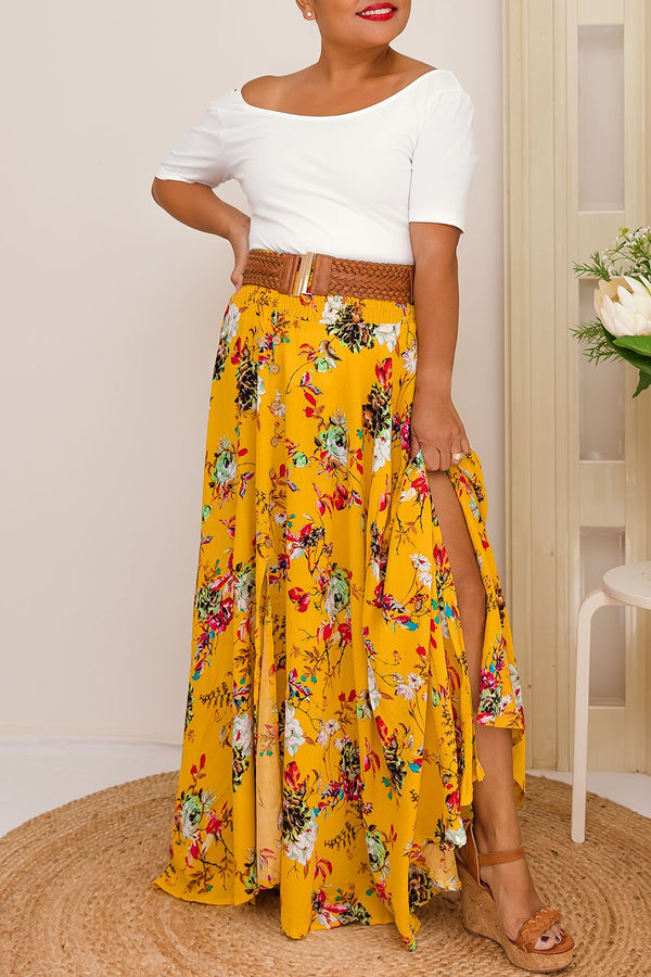 MIA HIGH WAISTED SKIRT-MUSTARD - Two Sisters Instyle