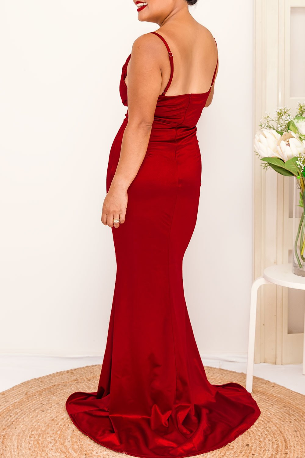 - Concealed back zip - Fabric has stretch - Fitted-through bodice, waist and hips; floor-length - Cowl Neckline - Smooth shiny fabric - Thin adjustable shoulder straps - Padded bust with cowl neckline