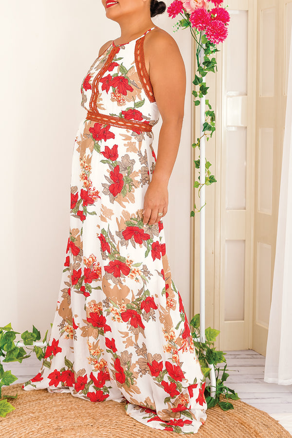 LYNDA MAXI FLORAL DRESS IN WHITE - Two Sisters Instyle