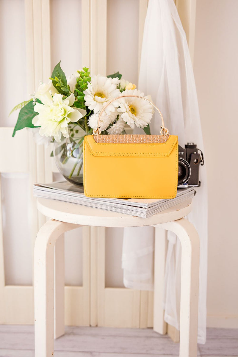 STACEY RING HANDLE BAG -YELLOW