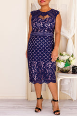 ESSIE LACE DRESS-NAVY - Two Sisters Instyle