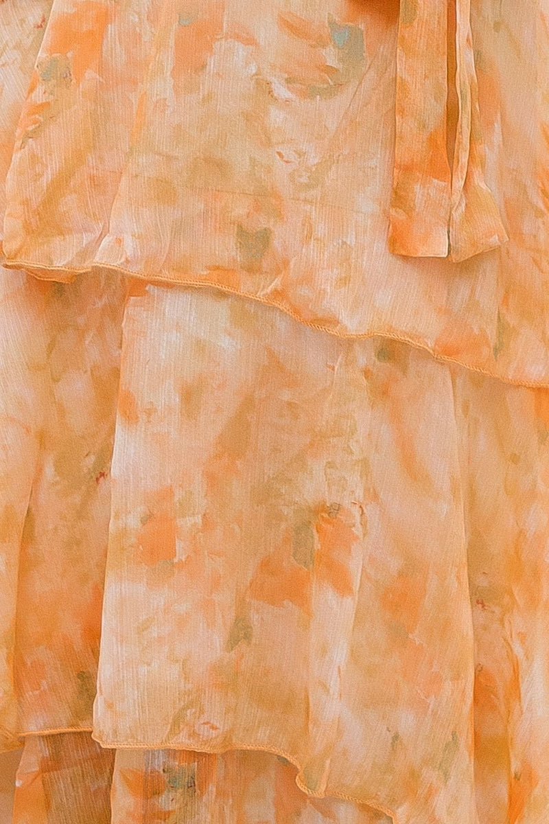 JAYDA RUFFLE FLORAL DRESS - ORANGE - Two Sisters Instyle
