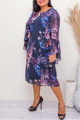 LEONORA FLORAL DRESS- BLUE - Two Sisters Instyle