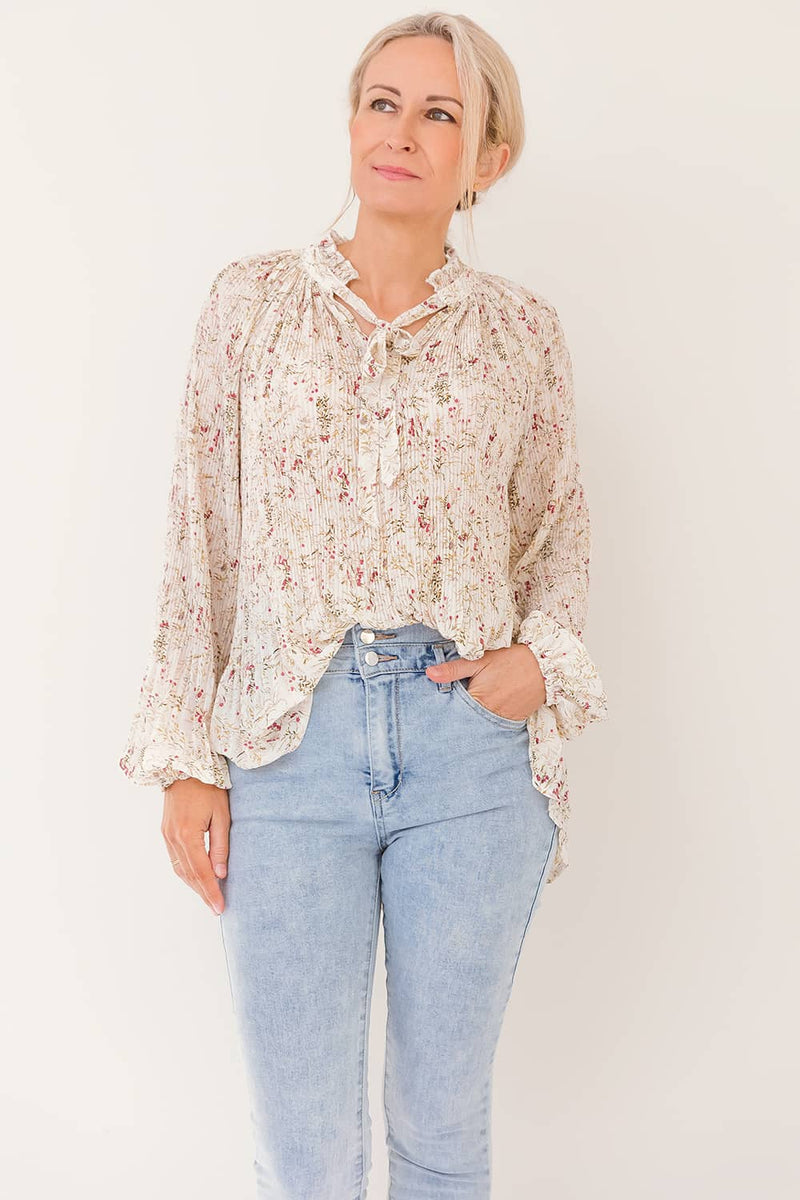 SANIYA PLEATED FLORAL TOP - WHITE - Two Sisters Instyle