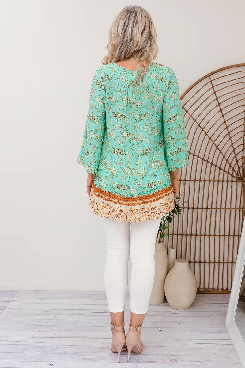 extra large long sleeve top green aqua floral
