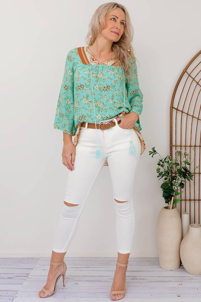 boho long sleeve top green