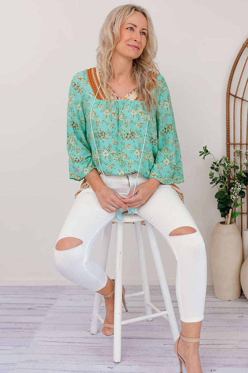 aqua green long sleeve top