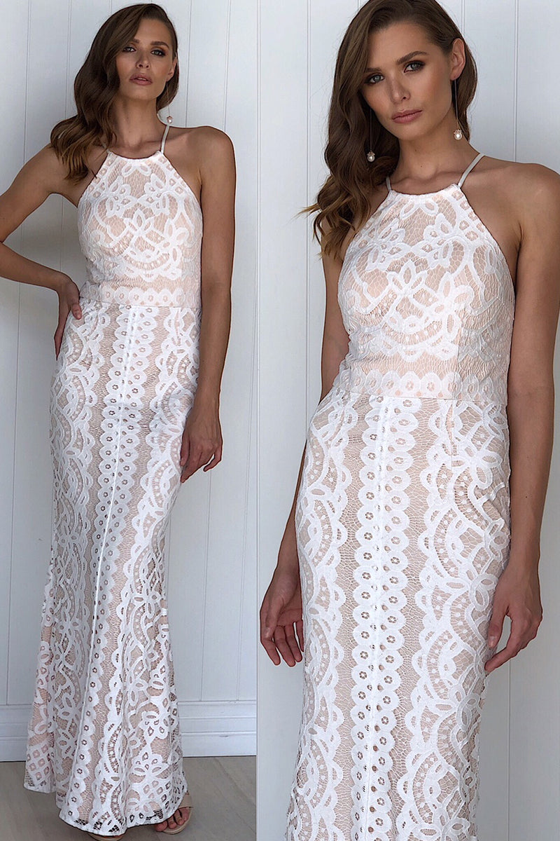 STAND OUT LACE MAXI IN WHITE - Two Sisters Instyle